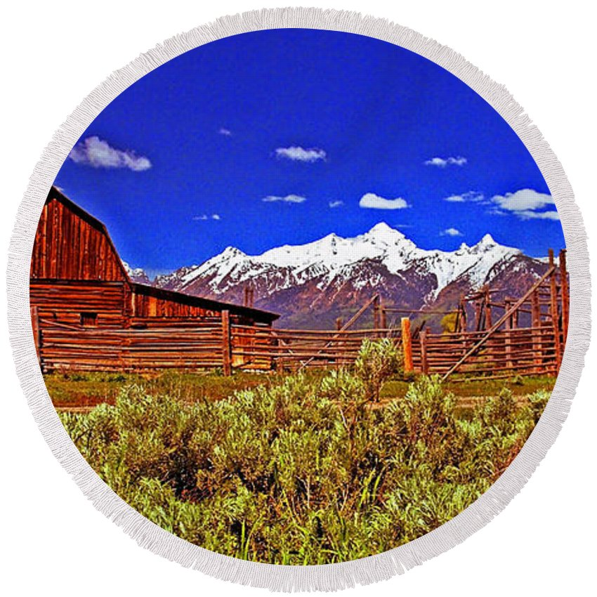 Wyoming Round Beach Towel featuring the photograph Tetons - Gambrel Barn And Fence Panorama by Rich Walter