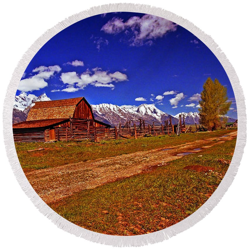 Wyoming Round Beach Towel featuring the photograph Tetons And Gambrel Barn Perspective by Rich Walter