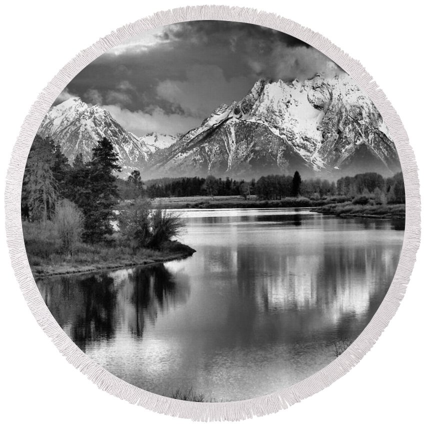 Tetons In Black And White Round Beach Towel featuring the photograph Tetons In Black And White by Dan Sproul