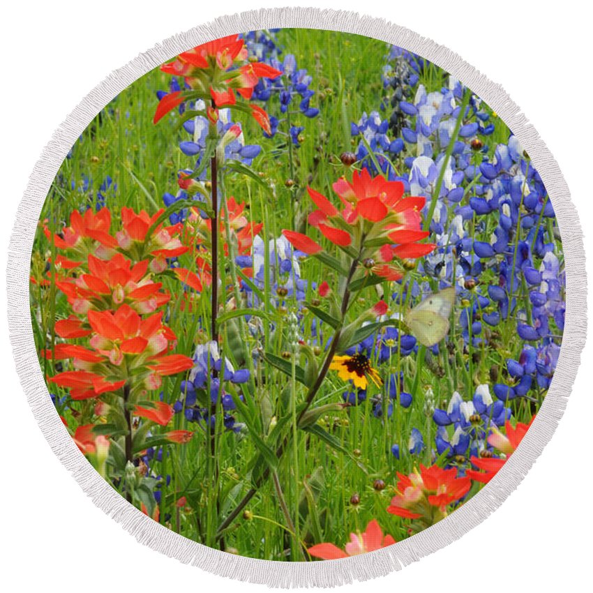 Wildflowers Round Beach Towel featuring the photograph Texas Best Wildflowers by Lynn Bauer