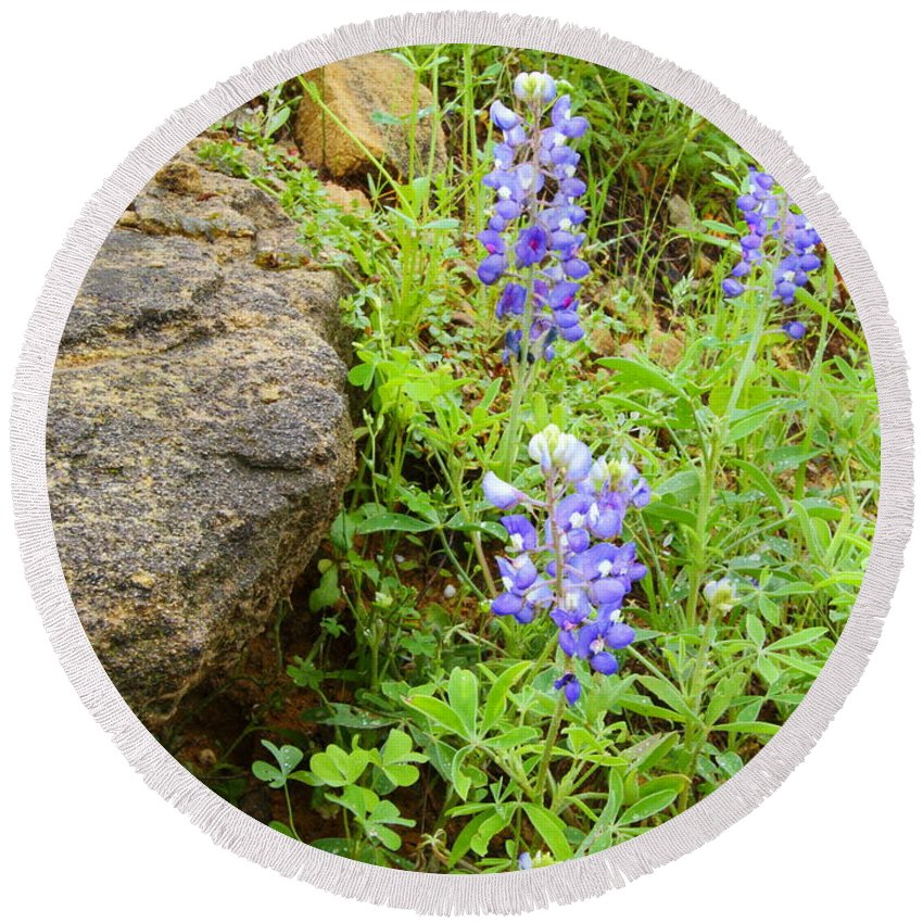 Wildflower Round Beach Towel featuring the photograph Bluebonnets 2am-110037 by Andrew McInnes
