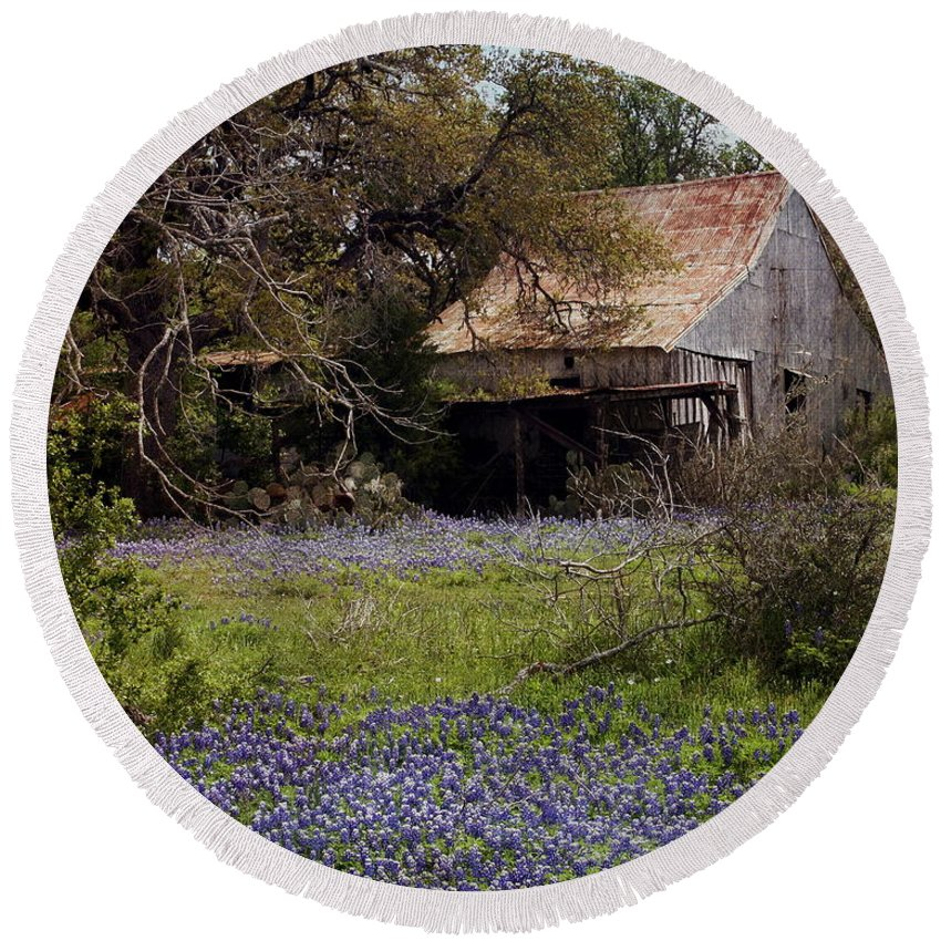 Texas Round Beach Towel featuring the photograph Texas Bluebonnets With Old Abandoned Shack by Terry Fleckney