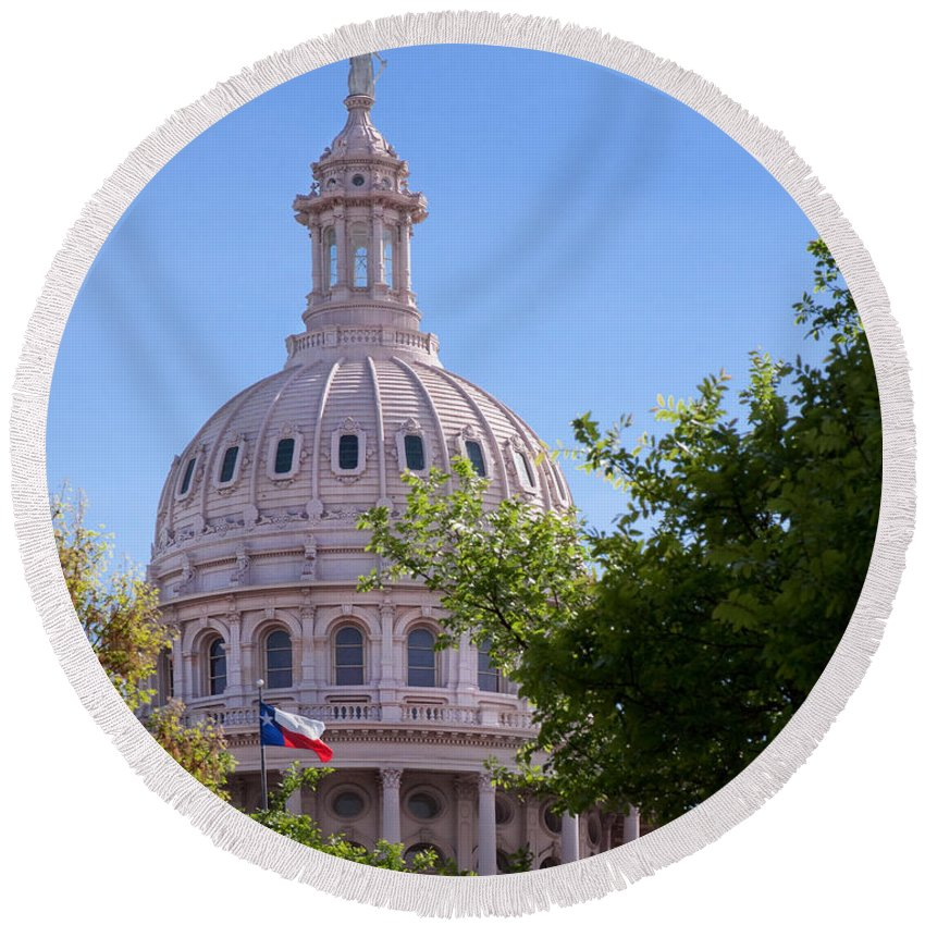 Architecture Round Beach Towel featuring the photograph Texas Capital Dome by David and Carol Kelly