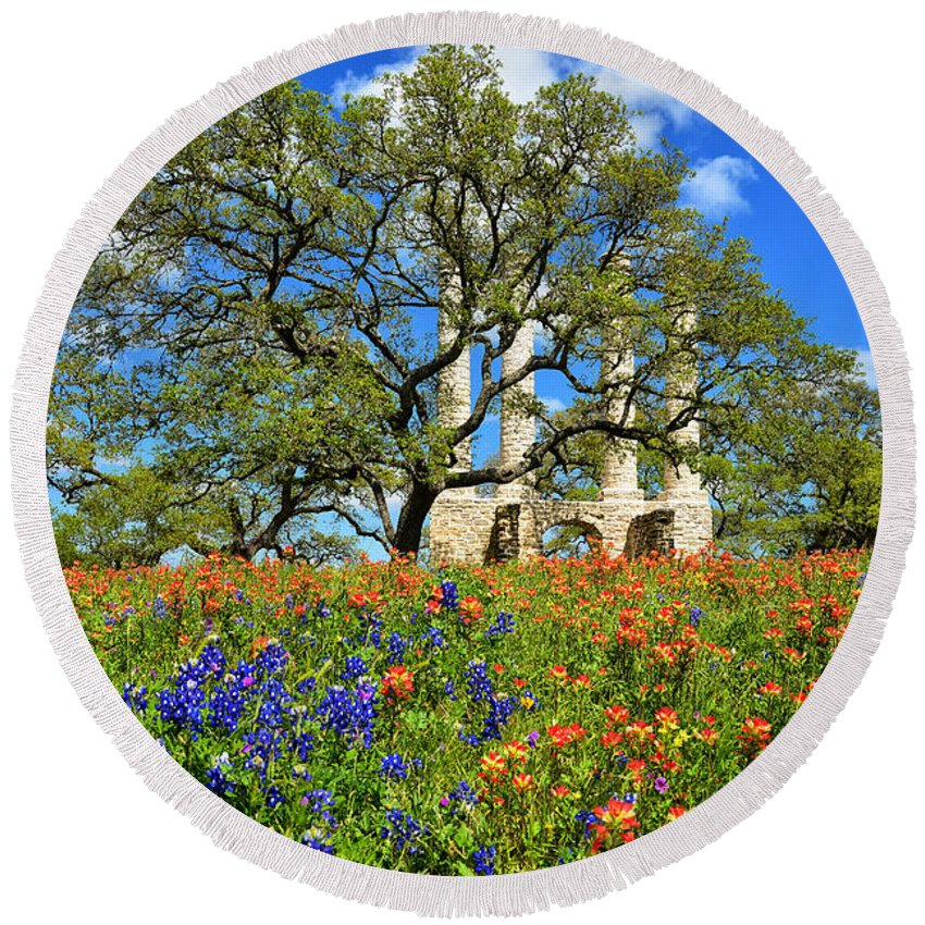 Ruins Round Beach Towel featuring the photograph Springtime Ruins by Lynn Bauer