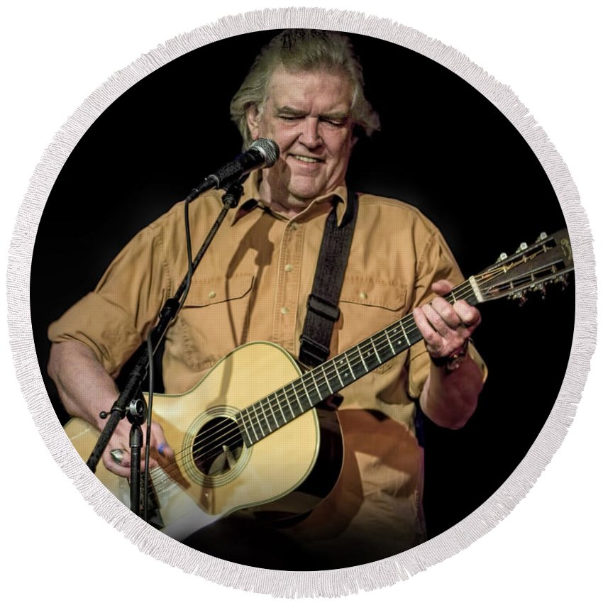 Art Round Beach Towel featuring the photograph Texas Singer Songwriter Guy Clark In Concert by Randall Nyhof