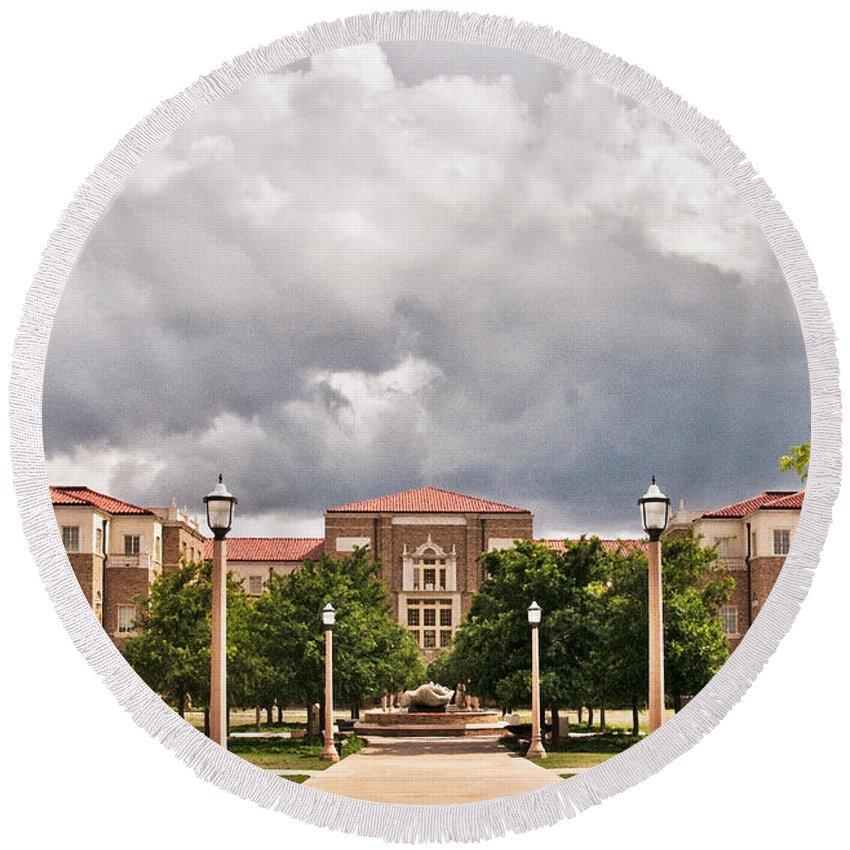 Texas Tech School Of Education Round Beach Towel featuring the photograph School Of Education by Mae Wertz