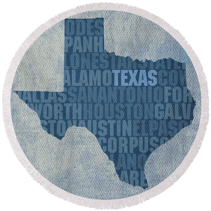 Texas Word Art State Map On Canvas Dallas San Antonio Houston Galveston Austin El Paso Fort Worth Texan Lone Star Usa America Alamo Round Beach Towel featuring the mixed media Texas Word Art State Map On Canvas by Design Turnpike