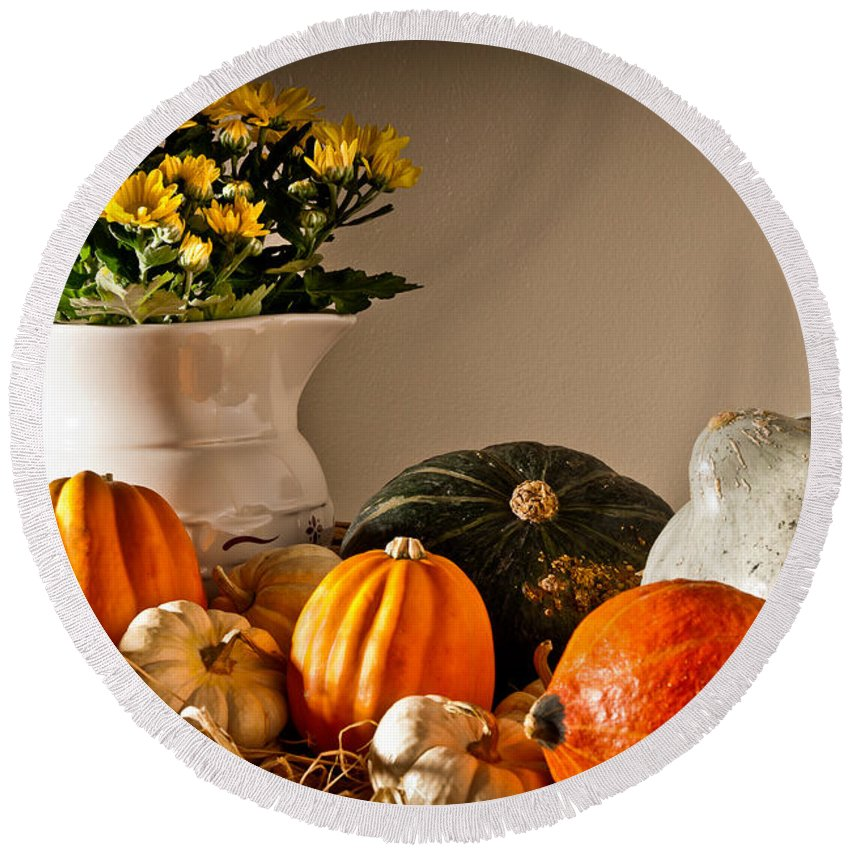 Thanksgiving Round Beach Towel featuring the photograph Thanksgiving Still Life by Onyonet Photo Studios