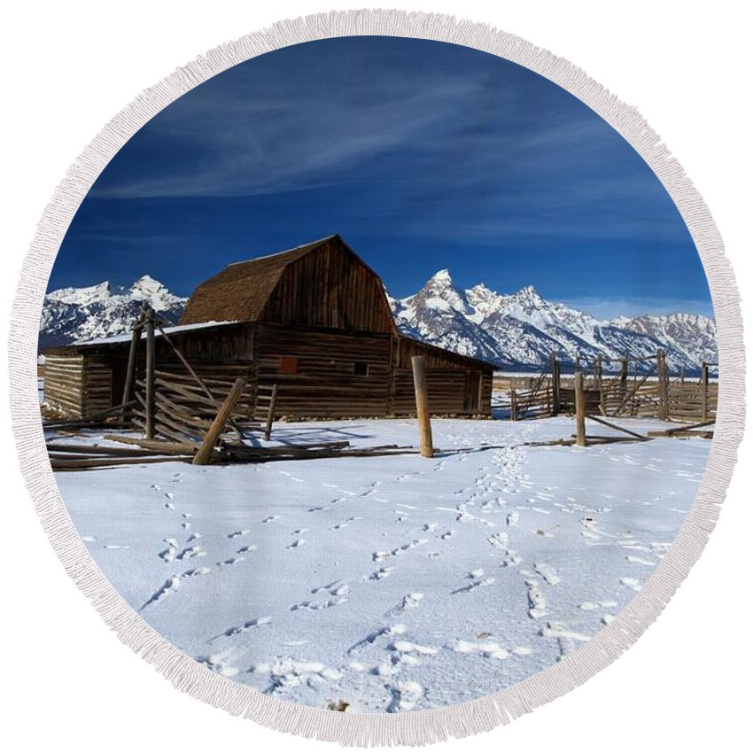 Grand Teton National Park Round Beach Towel featuring the photograph That Famous Barn by Adam Jewell