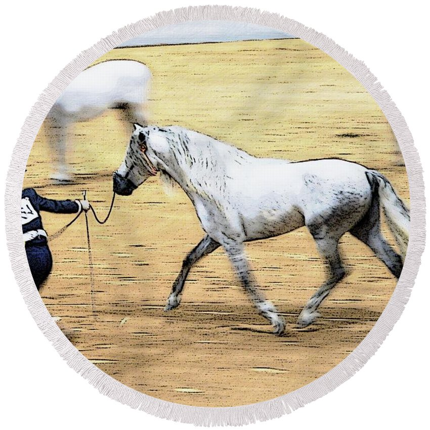 Horse Andalusion Showing Show Alicegipsonphotographs Round Beach Towel featuring the photograph That Trot Off by Alice Gipson