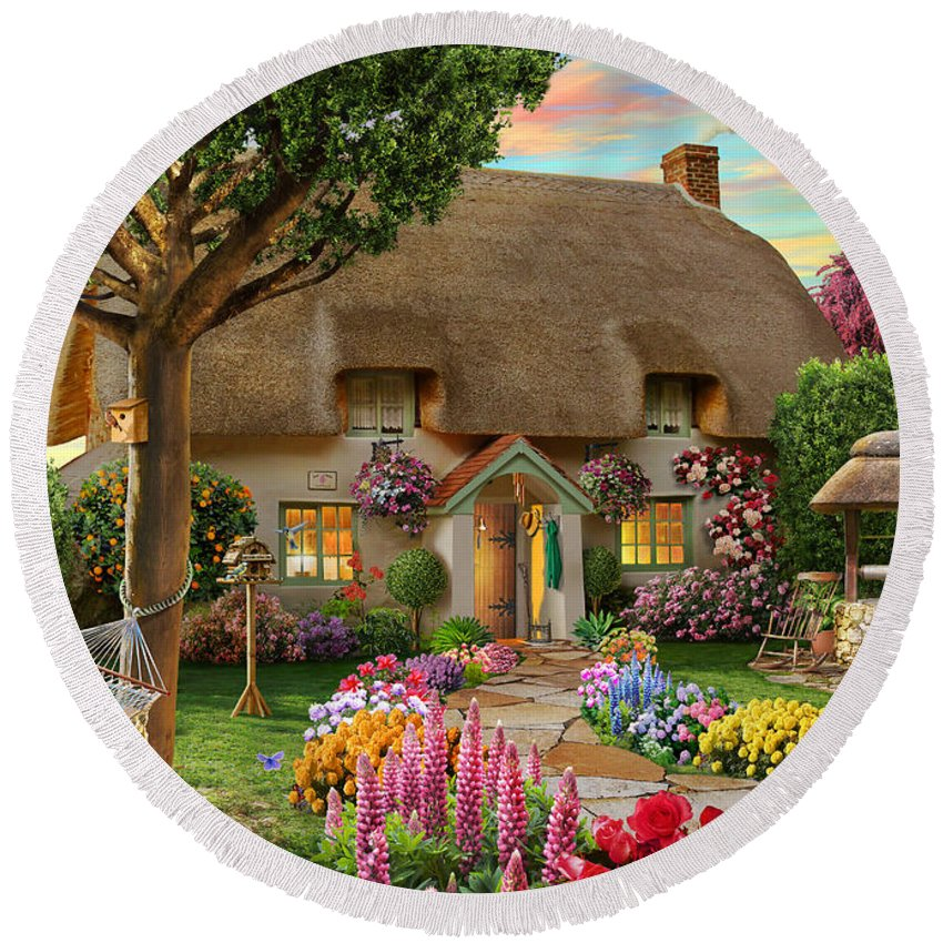 Thatched Cottage Round Beach Towel featuring the digital art Thatched Cottage by MGL Meiklejohn Graphics Licensing