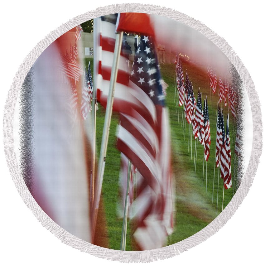 Flags Round Beach Towel featuring the photograph The 10th Anniversary Of 9-11-2001 Forest Park St Louis Mo Img 5708 by Greg Kluempers
