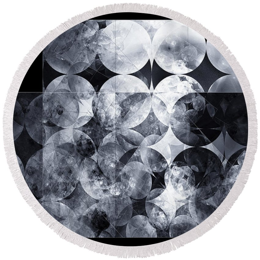 Monochrome Round Beach Towel featuring the digital art The 13th Dimension by Menega Sabidussi