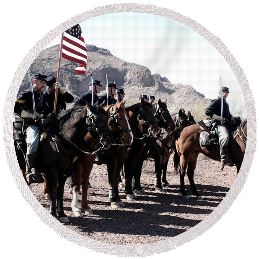 Civil War Round Beach Towel featuring the photograph The 1st California U S Cavelry by Joe Kozlowski