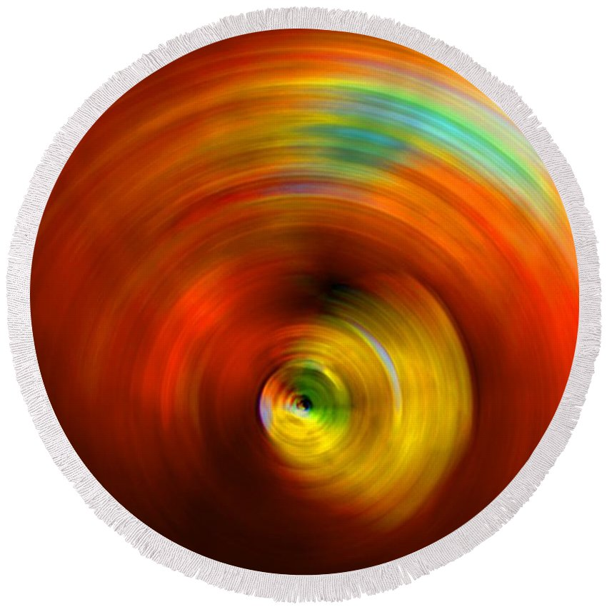Vortex Round Beach Towel featuring the digital art The #2 Colors Of Your Soul by Marcello Cicchini