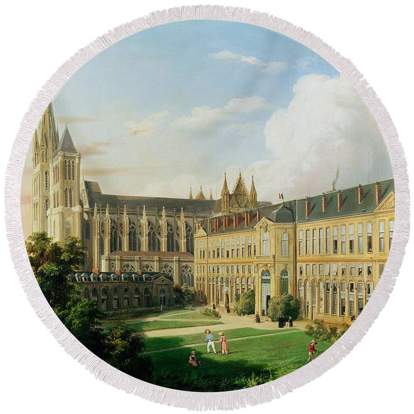 Denis Round Beach Towel featuring the photograph The Abbey Church Of Saint-denis And The School Of The Legion Of Honour In 1840 Oil On Canvas by Aline Clement