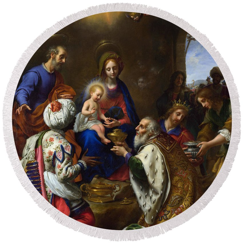 Carlo Dolci Round Beach Towel featuring the painting The Adoration Of The Kings by Carlo Dolci