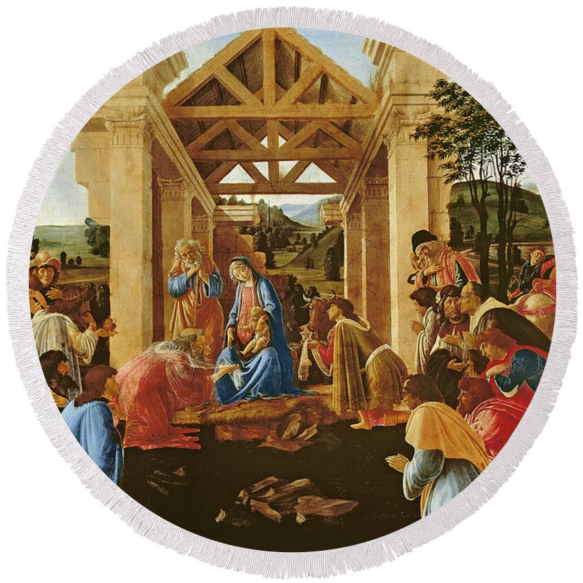 Nativity Round Beach Towel featuring the painting The Adoration Of The Magi by Sandro Botticelli
