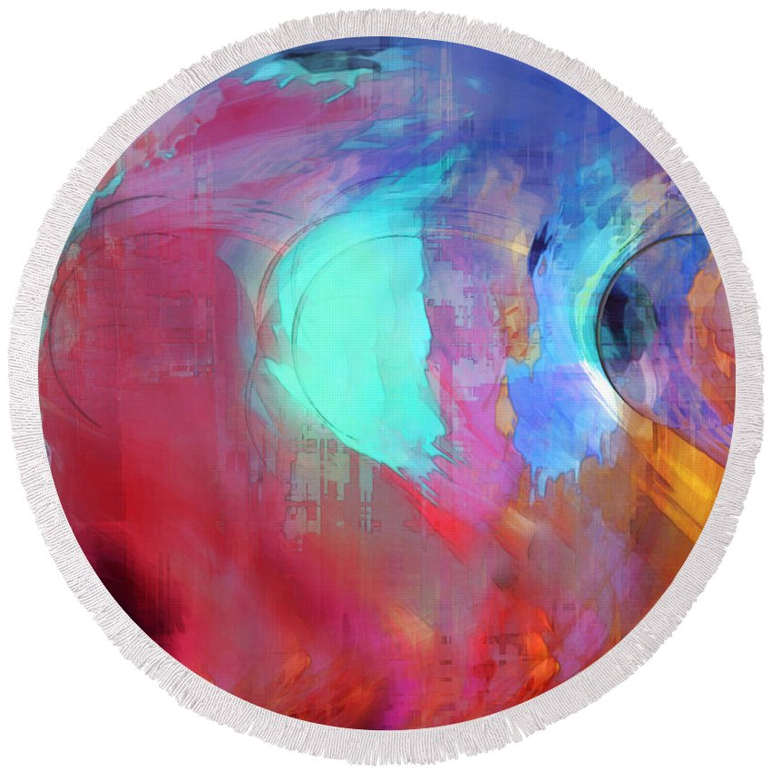 Abstract Round Beach Towel featuring the digital art The Afterglow by Linda Sannuti