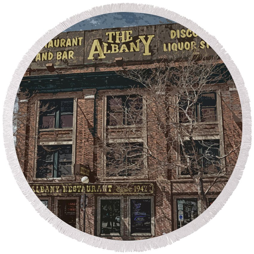 Restaurant Round Beach Towel featuring the photograph The Albany by Erika Weber