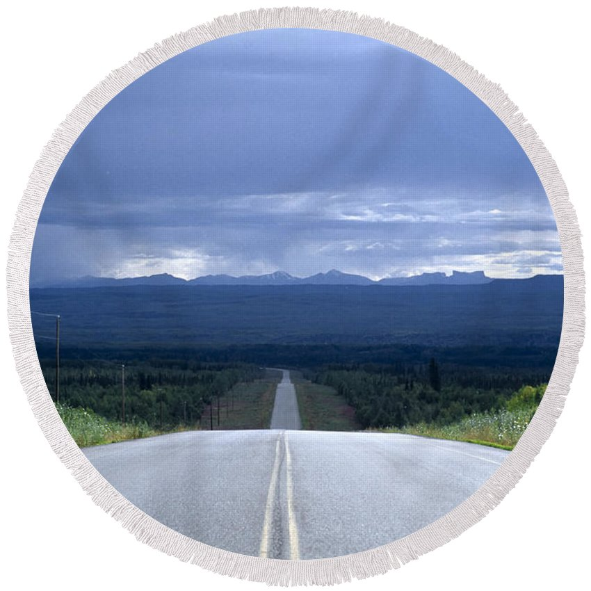 Alcan Hwy Round Beach Towel featuring the photograph The Alcan Hwy by Roderick Bley