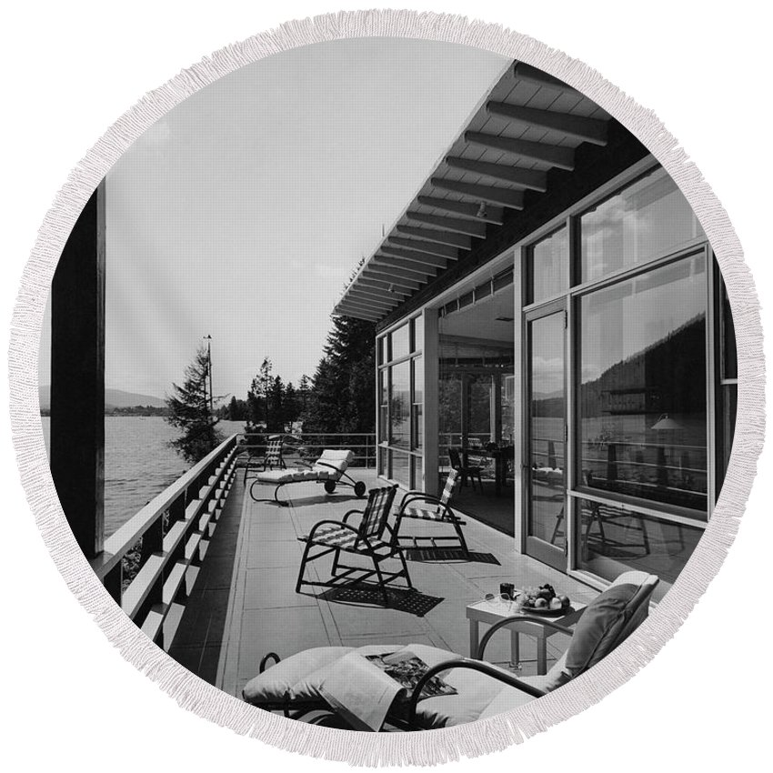 Architecture Round Beach Towel featuring the photograph The Alfred Rose Lake Placid Summer Home by Robert M. Damora