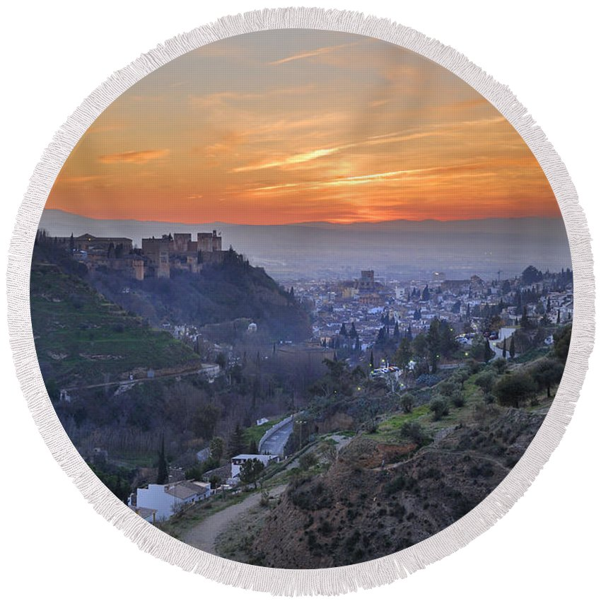 The Alhambra Round Beach Towel featuring the photograph The Alhambra And Granada At Sunset by Guido Montanes Castillo