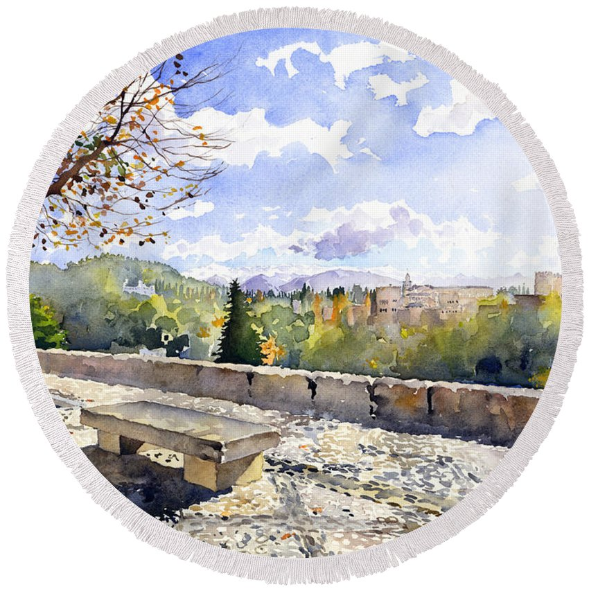 Watercolour Round Beach Towel featuring the painting The Alhambra In Autumn by Margaret Merry