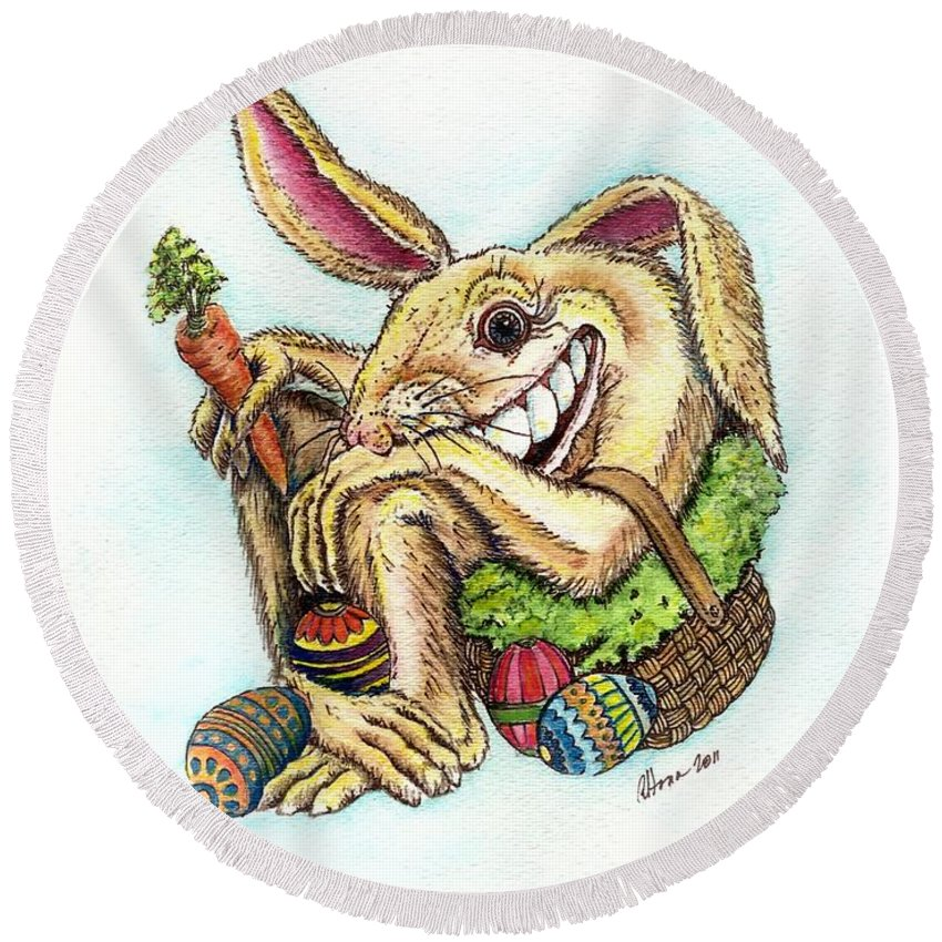 Easter Art Round Beach Towel featuring the painting The Altered Easter Bunny by T Cook