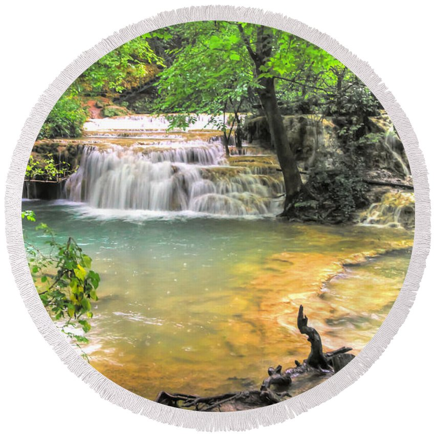 Famous Round Beach Towel featuring the photograph The Amazing Travertines Of Krushuna by Eti Reid