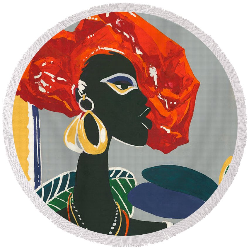 Black Round Beach Towel featuring the painting The Ambassador by Elisabeta Hermann