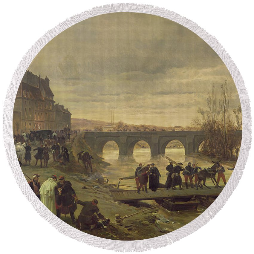 Stretchers Round Beach Towel featuring the photograph The Ambulance De La Presse At Joinville During The Siege Of Paris Oil On Canvas by Alfred Decaen