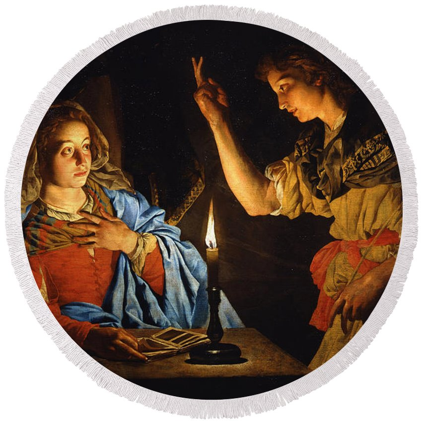 Matthias Stom Round Beach Towel featuring the painting The Annunciation by Matthias Stom