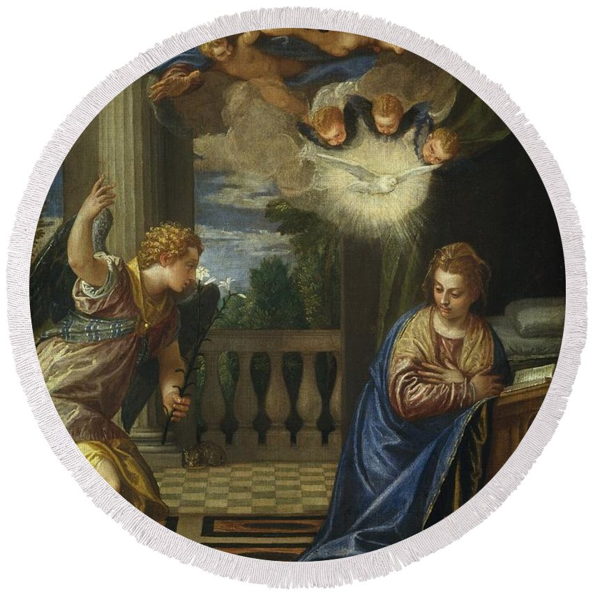 1580 Round Beach Towel featuring the painting The Annunciation by Paolo Veronese