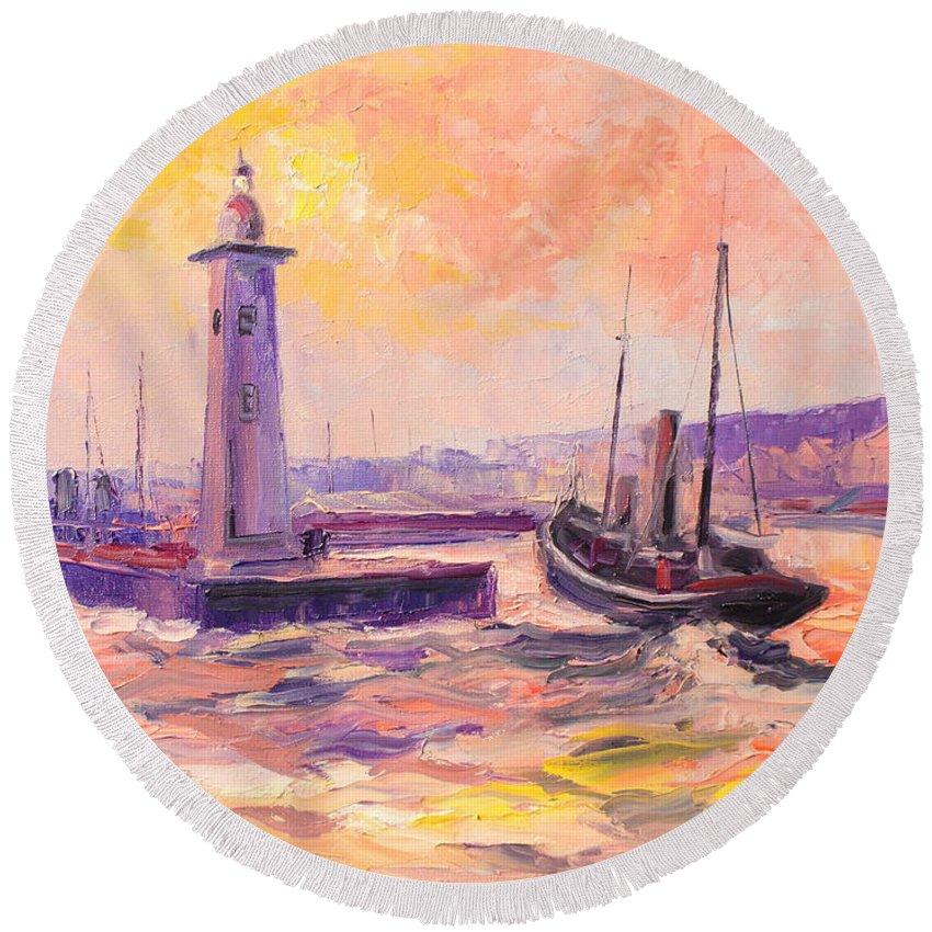Anstruther Round Beach Towel featuring the painting The Anstruther Harbour by Luke Karcz