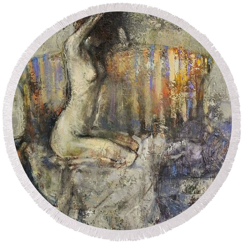 Nude Round Beach Towel featuring the painting The Antique Sofa by Grigor Malinov