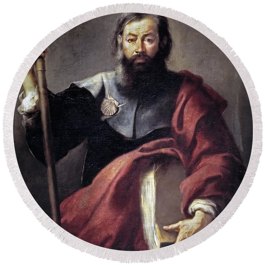 Bartolome Esteban Murillo Round Beach Towel featuring the painting The Apostle Saint James by Bartolome Esteban Murillo