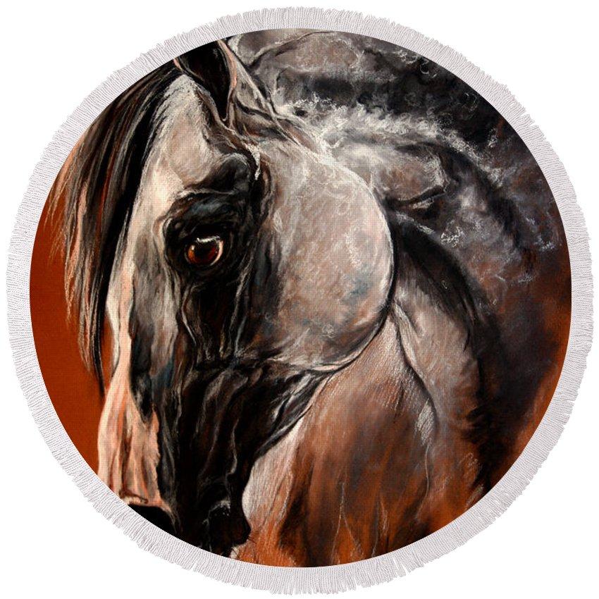 Horse Round Beach Towel featuring the drawing The Arabian Horse by Angel Ciesniarska