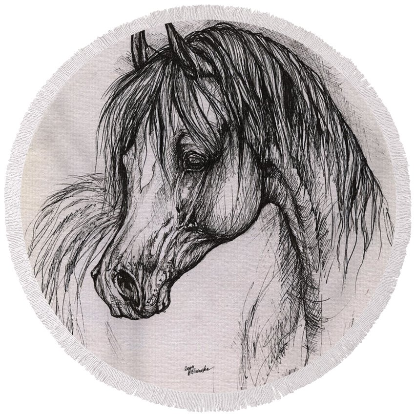 Arabian Horse Round Beach Towel featuring the drawing The Arabian Horse With Thick Mane by Angel Ciesniarska