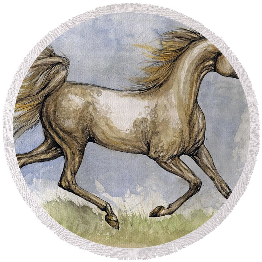 Mare Round Beach Towel featuring the painting The Arabian Mare Running by Angel Ciesniarska