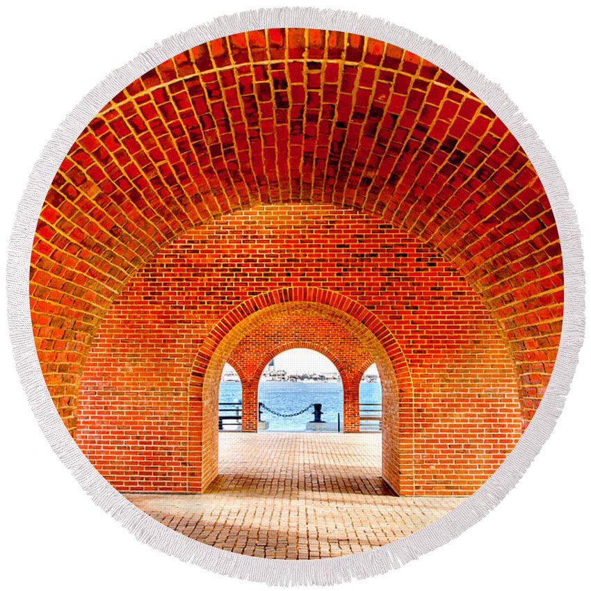 Boston Round Beach Towel featuring the photograph The Arches by Greg Fortier