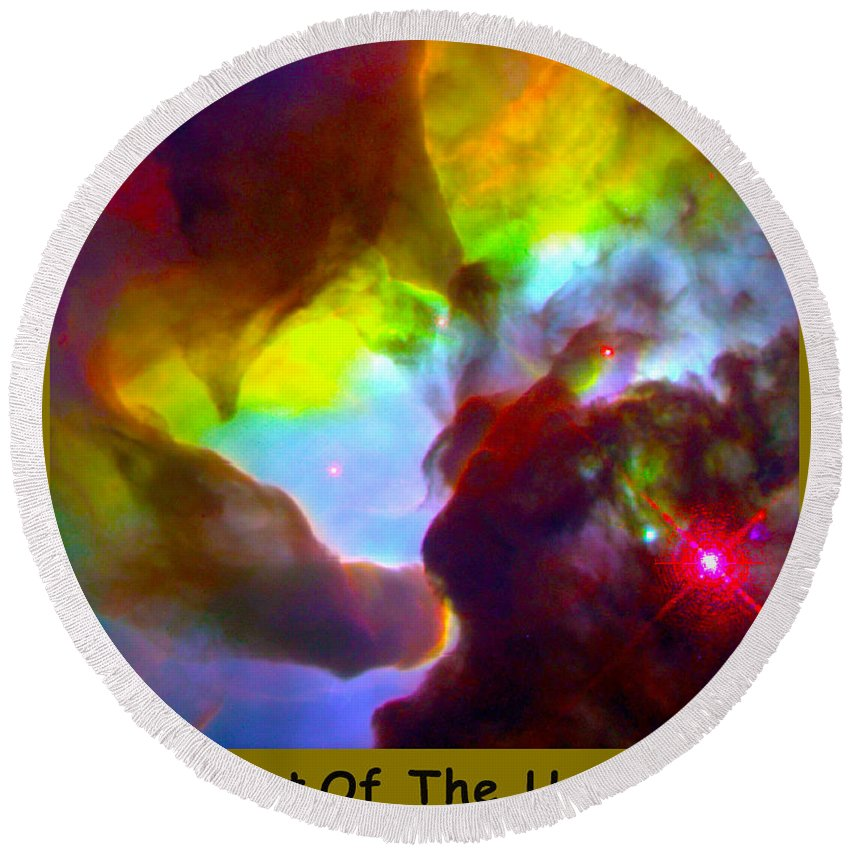 Outer Space Three Zero Six Round Beach Towel featuring the digital art The Art Of The Universe 266 by The Hubble Telescope
