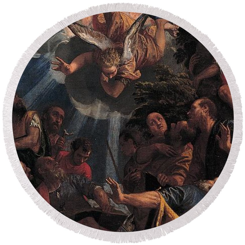 1585 Round Beach Towel featuring the painting The Ascension by Paolo Veronese