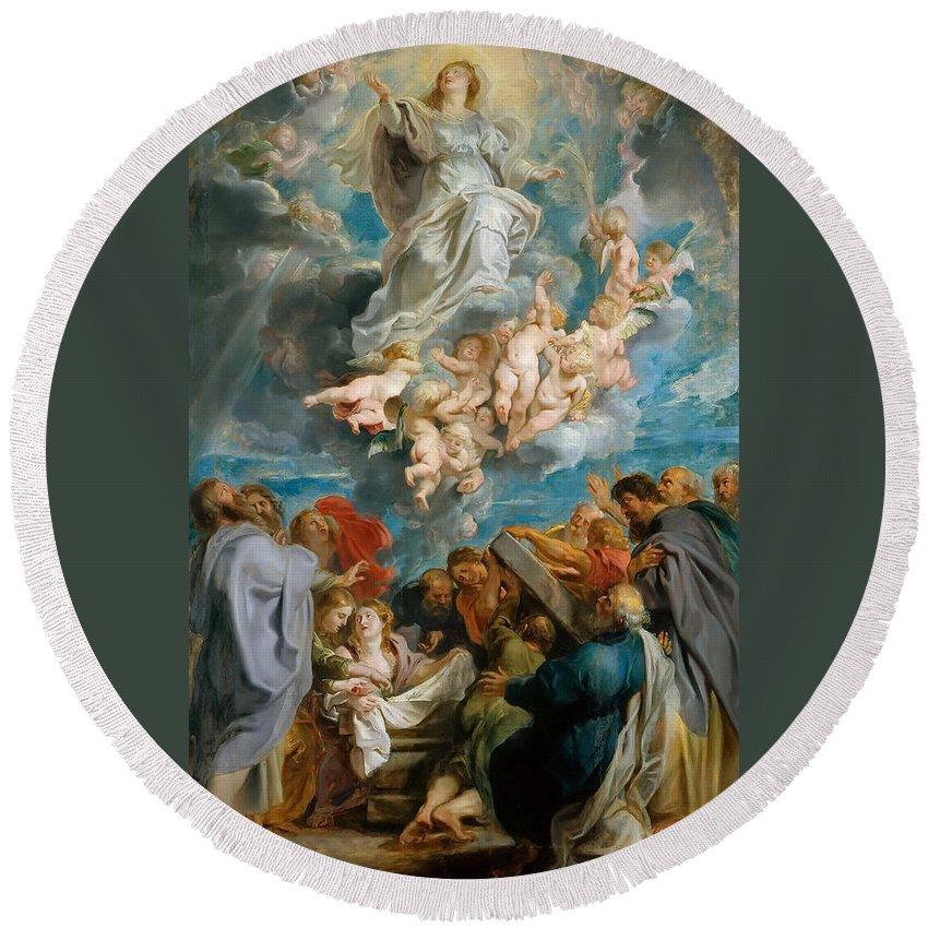 Peter Paul Rubens Round Beach Towel featuring the painting The Assumption Of The Virgin by Peter Paul Rubens
