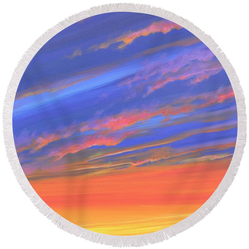 Sunset Round Beach Towel featuring the painting The Aunt's House by Hunter Jay