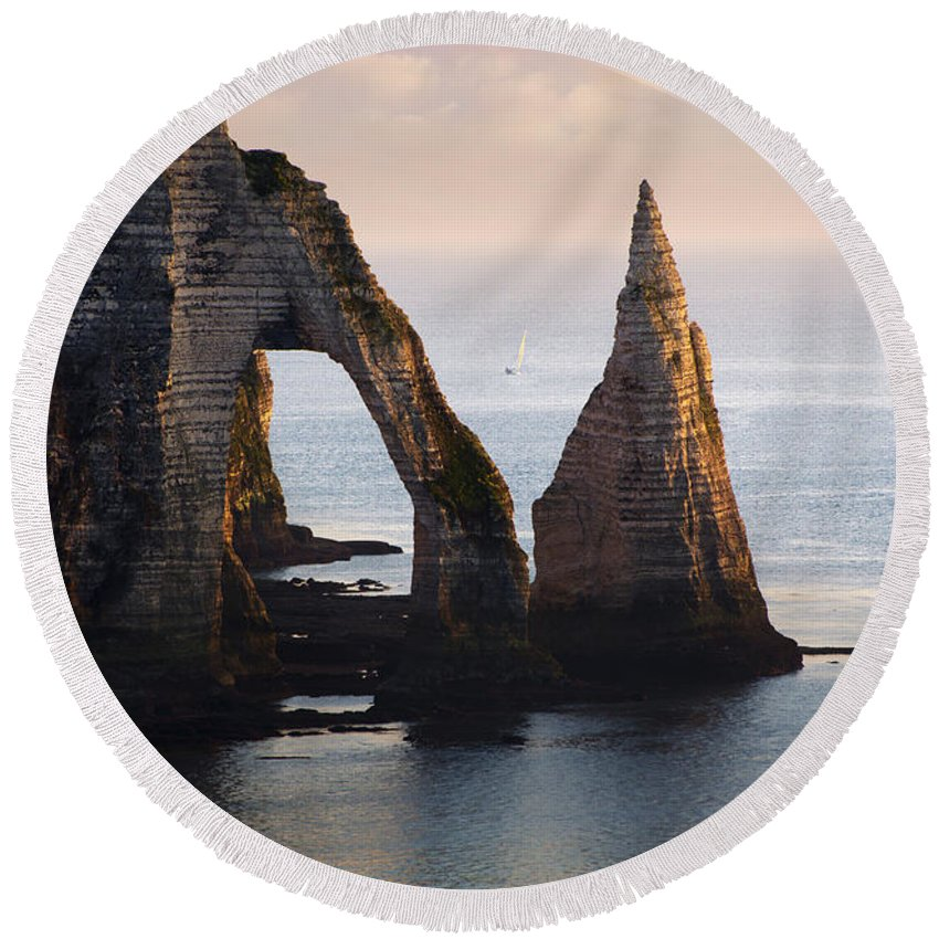 Sea Round Beach Towel featuring the photograph The Aval Door In Etretat France by Jaroslaw Blaminsky