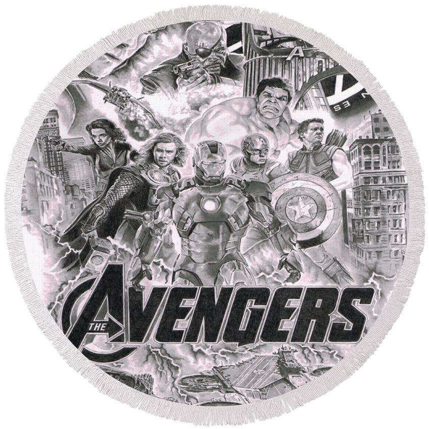Ironman Round Beach Towel featuring the drawing The Avengers by David Horton