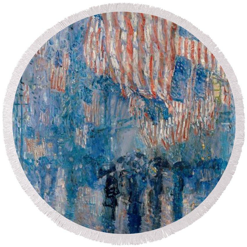The Avenue In The Rain Round Beach Towel featuring the painting The Avenue In The Rain by Georgia Fowler