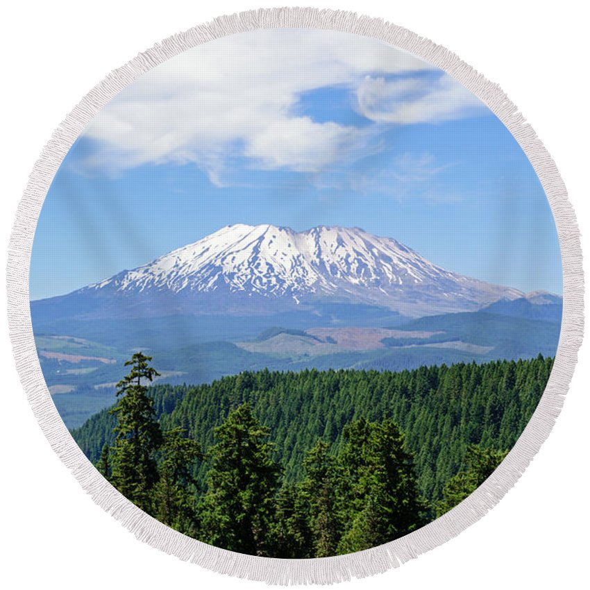 Nature Round Beach Towel featuring the photograph The Back Side Of Helens by Tikvah's Hope