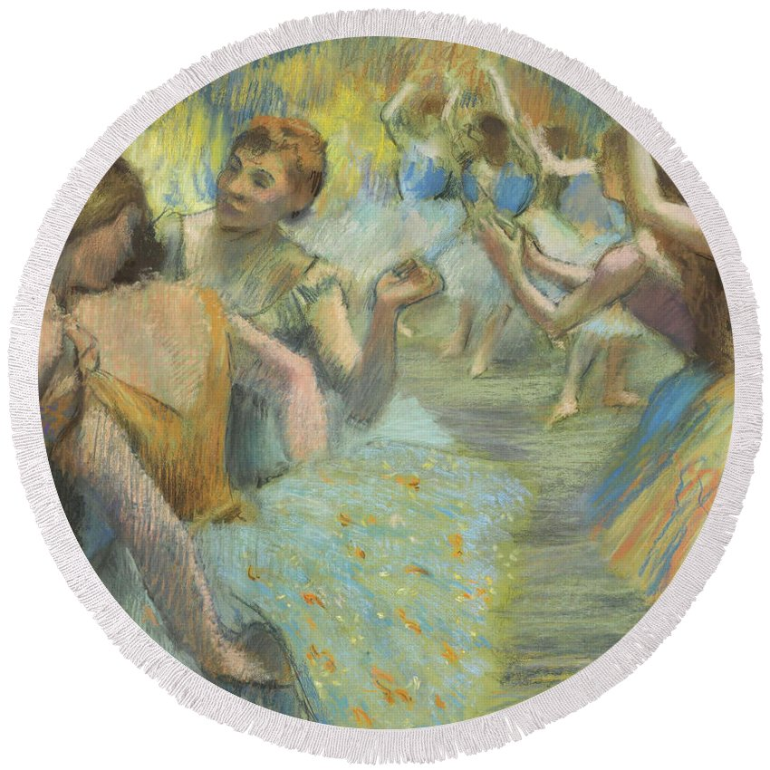 Edgar Degas Round Beach Towel featuring the painting The Ballet by Edgar Degas
